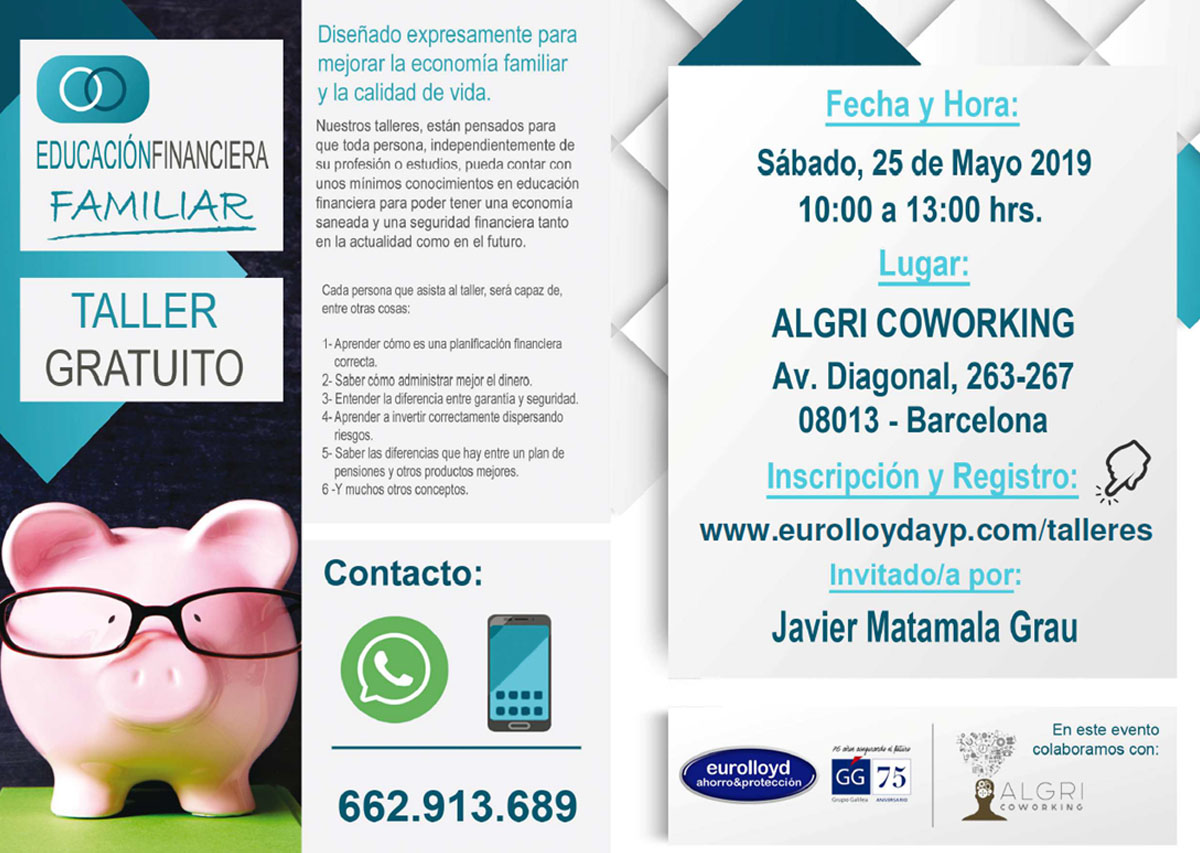 Finantial workshop held in algri coworking barcelona near sagrada familia and the city center