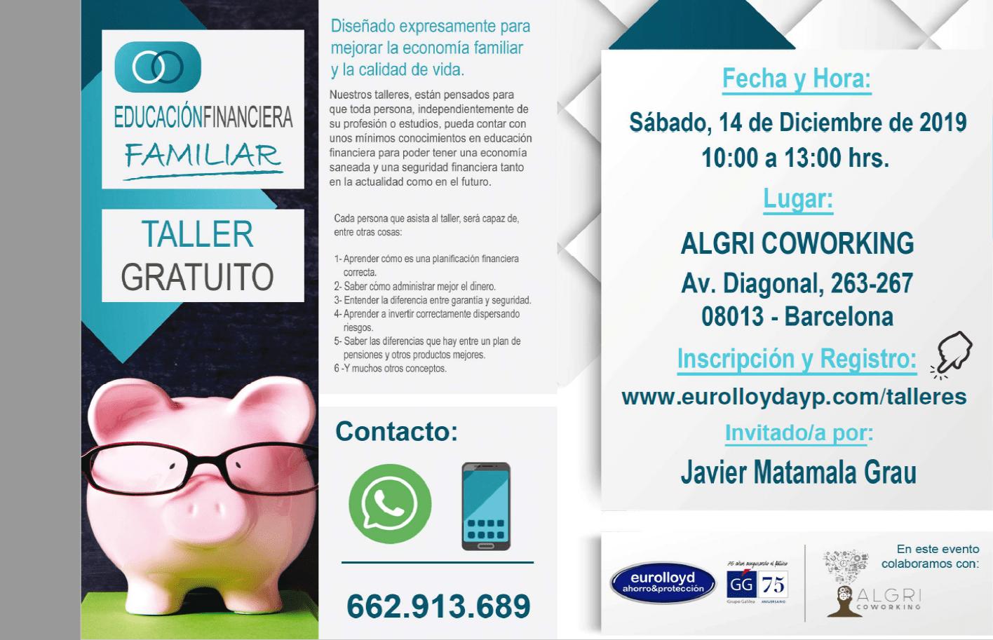 Algri Coworking barcelona taller gratuito educacion financiera